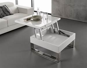 Table Laqué Blanc : table basse blanc laqu relevable extensible latablebasse ~ Teatrodelosmanantiales.com Idées de Décoration