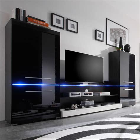 Die moderne wohnwand hat alles: Wohnwand Modern Art in Schwarz inkl. blauer LED ...