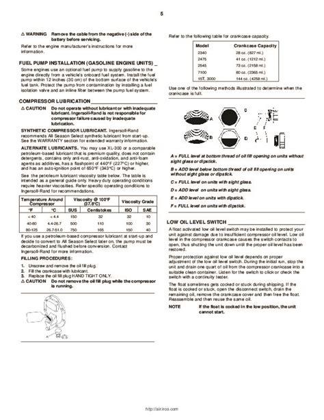 ingersoll rand air compressor ssr manual