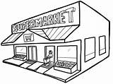 Coloring Grocery Supermarket Pages Drawing Shopping Building Children Clipart Popular Groceries Colors Clipartmag Doghousemusic sketch template
