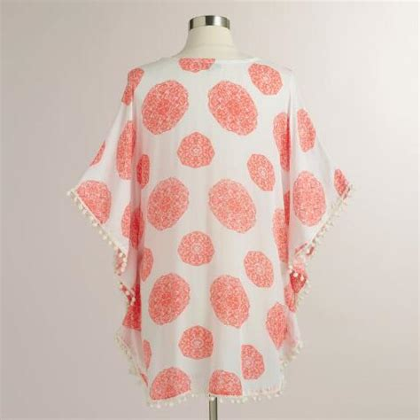 white and coral kaftan with pompoms world market