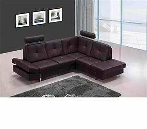 Dreamfurniturecom 973 modern brown leather sectional sofa for Leather sectional sofas