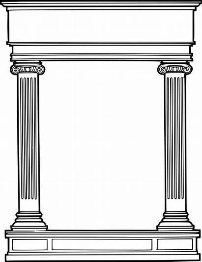 Roman Column Border Frame Clipart Columns Simple
