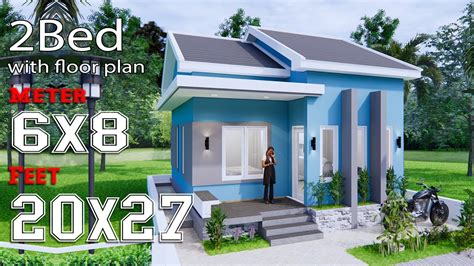 Small House Plans 6x8 Meter 20x27 Feet 2 Bedrooms Gable