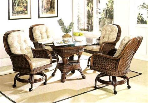 moroccan caster rattan and wicker dining set kozy kingdom