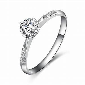 elegant diamond ring 050 carat round cut diamond on white With white gold wedding rings prices