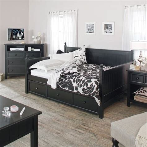 full size black wood daybed  pull  trundle bed