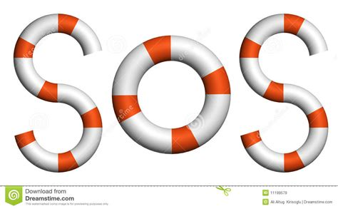 Distress Signal Sos Text By Life Buoy Stock Illustration