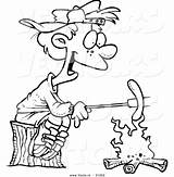 Campfire Outline Coloring Cartoon Roasting Boy Weenie Toonaday sketch template