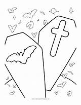 Coloring Halloween Coffins Coffin Pages Template Colouring Halloweenprintables sketch template