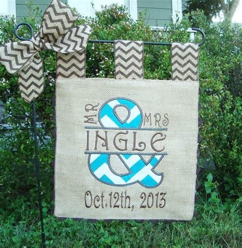 burlap garden flag custom mr and mrs wedding day