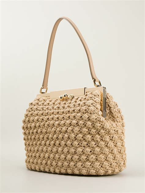 lyst dolce gabbana medium crochet bag  natural