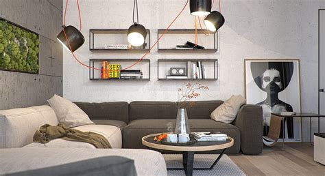 living room apartment 5 kiev apartments with verdant vertical gardens and other Industrial