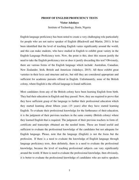 (pdf) Proof Of English Proficiency Tests