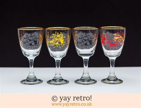 4 Atomic 1950s Sherry/Port Glasses - Vintage Shop, Retro