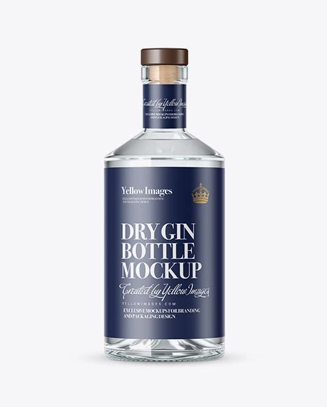 The bottle's cap is available in glossy and metallic finishes. Clear Glass Gin Bottle Mockup in Bottle Mockups on Yellow ...
