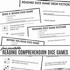 Free Printable Reading Comprehension Dice Games  And Next Comes L