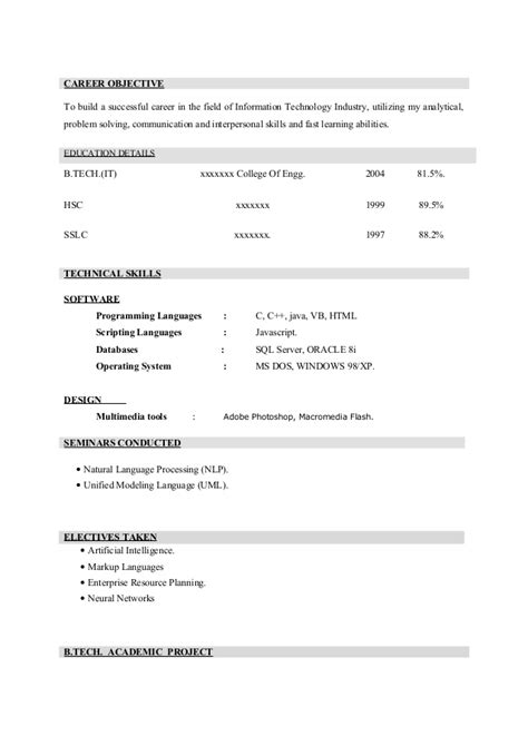 Empty Resume Format For Freshers by Resume Format Blank Resume Format For Freshers