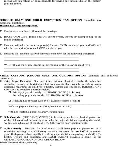 north carolina separation agreement template