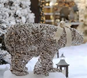 lit twig polar bear contemporary outdoor holiday decorations sacramento by pottery barn