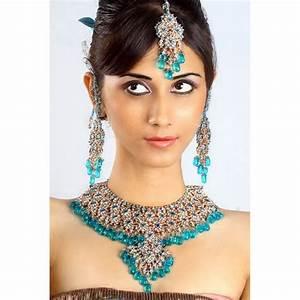 achat parure indienne bleue turquoise bijoux mariage With parure de bijoux pas cher