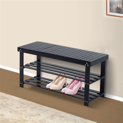 Shoe Entryway Bench by Wooden Shoe Bench Storage Seat 2 Shelves Rack Organizer