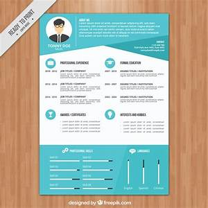Modern blue resume template vector free download for Blue resume paper