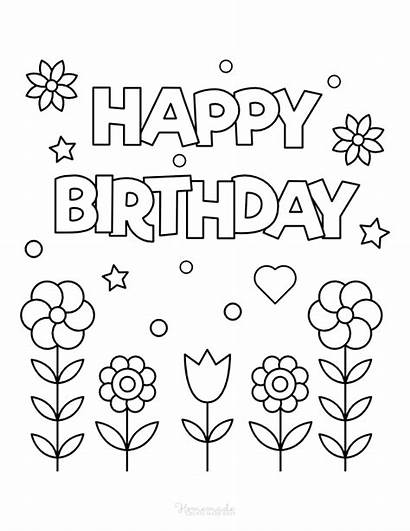 Coloring Birthday Happy Colouring Printable Flowers Cards