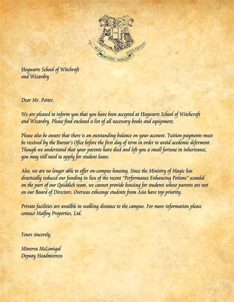 hogwarts application letter contesting wiki