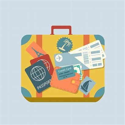 Travel Suitcase Stickers Plane Tickets Vector Passport