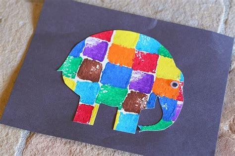 sponge painted elmer the elephant buggy and buddy 121 | on black