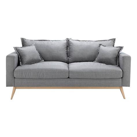 canapé tissu 3 places canapé 3 places en tissu gris clair duke maisons du monde