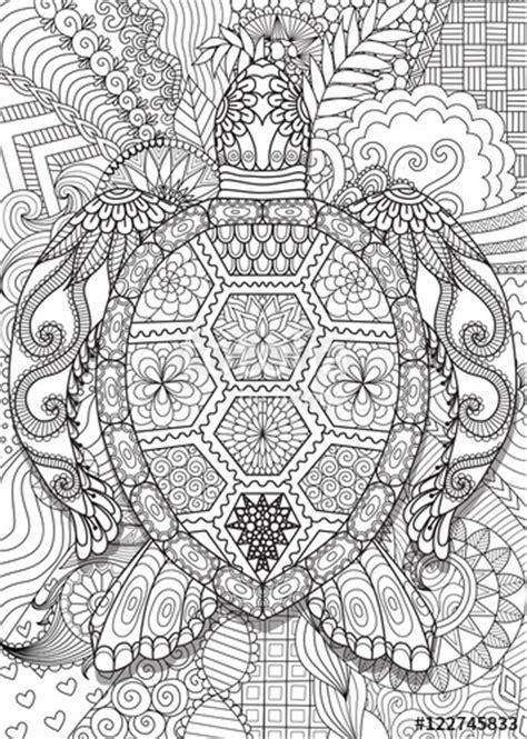 zendoodle design  sea turtle lying  floral background