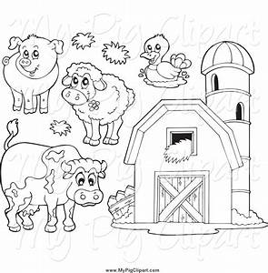 Swine Clipart of Black and White Farm Animals and a Barn ...