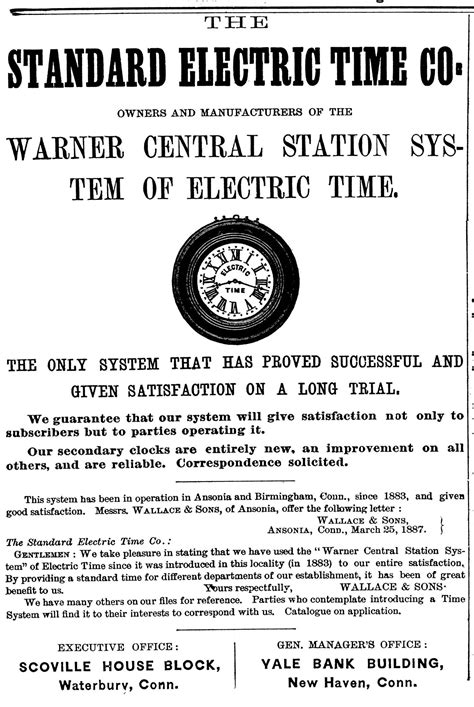 Old Advertisements of The Standard Electric Time Company