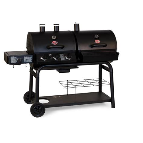 lowes cast iron shop char griller duo black dual function combo grill at