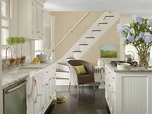 benjamin moore in clay beige and white dove With kitchen colors with white cabinets with inhale exhale wall art