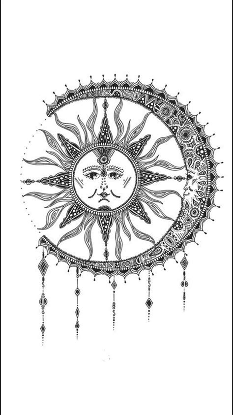 Mid back   maquillaje, peinados etc   Sun tattoos, Moon sun tattoo, Moon tattoo designs