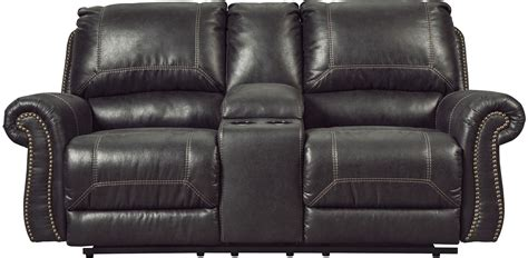 recliner loveseat with console milhaven black power reclining console loveseat
