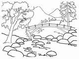 Coloring Nature Drawing Printable Landscape Colouring River Rios Para Dibujos Bank Colorear Children sketch template
