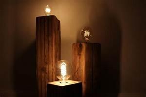 Retro Lampe Holz : vintage lampe aus holzbalken diy anleitung ideen inspiration ~ Indierocktalk.com Haus und Dekorationen