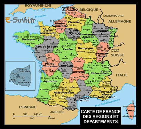 Carte De Et Region Et Departement by Cartes De Avec R 233 Gions Et D 233 Partements The Best Cart