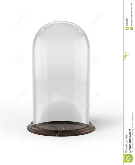cloche en verre avec la base en bois image libre de droits image 27989126