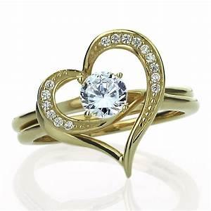 women 15mm 14k gold cz interlocking heart wedding With heart wedding rings for women