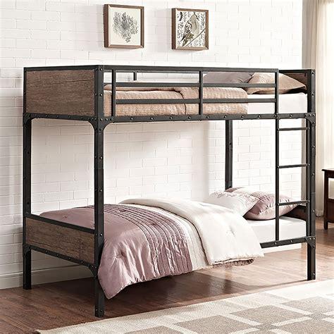 39993 furniture bunk bed rustic wood bunk bed brown btotrmwm walker