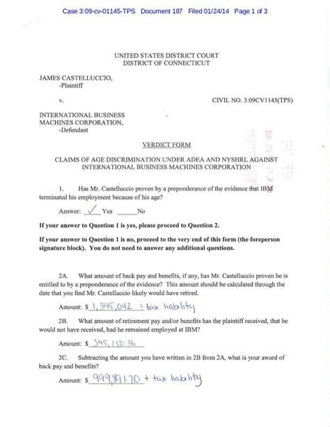 trial brief pages template california castelluccio v ibm jury verdict form