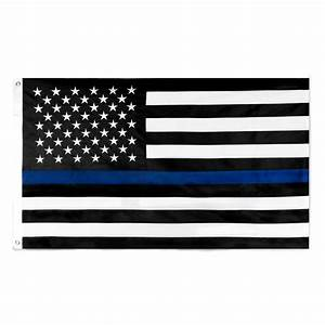 Thin Blue Line Flag 3X5 Foot Stitched Nylon Police Flag