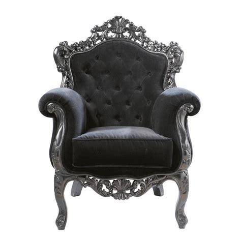 fauteuil capitonn 233 en velours noir barocco maisons du monde