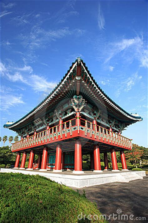 korea traditional buildingjeju volcanic island stock