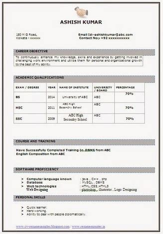 Attractive Resume Sle For Freshers by Best It Fresher Resume Sle Career Scoop